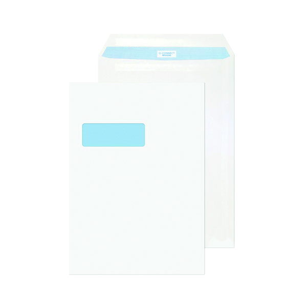 White Plain Q-Connect C4 Envelope Window Self Seal 90gsm White (75 Pack) KF07561