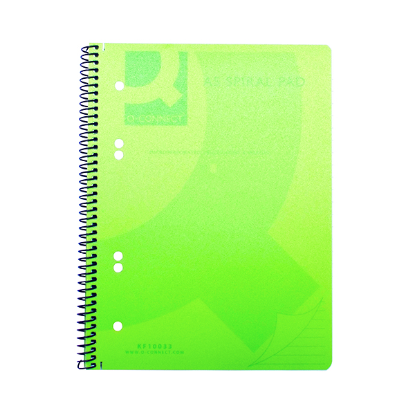Q-Connect Spiral Bound Polypropylene Notebook 160 Pages A5 Green (5 Pack) KF10033