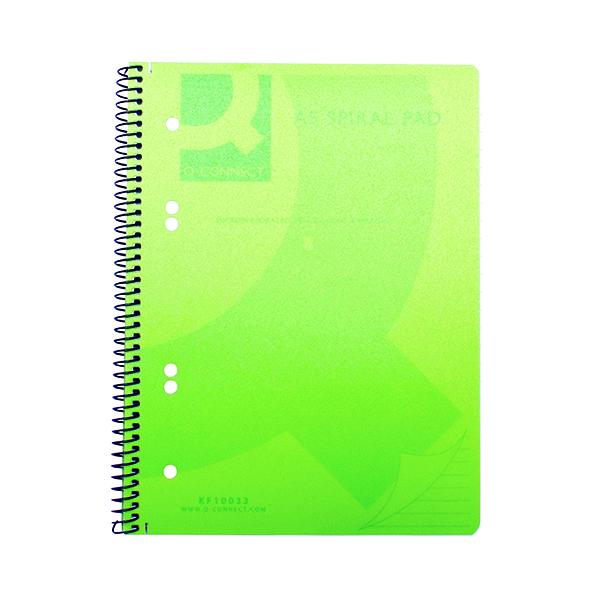 A5 Q-Connect Spiral Bound Polypropylene Notebook 160 Pages A5 Green (5 Pack) KF10033