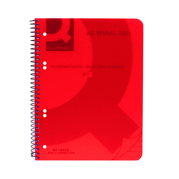 A5 Q-Connect Spiral Bound Polypropylene Notebook 160 Pages A5 Red (5 Pack) KF10035