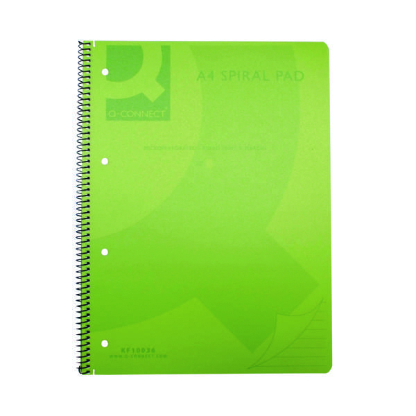 A4 Q-Connect Spiral Bound Polypropylene Notebook 160 Pages A4 Green (5 Pack) KF10036