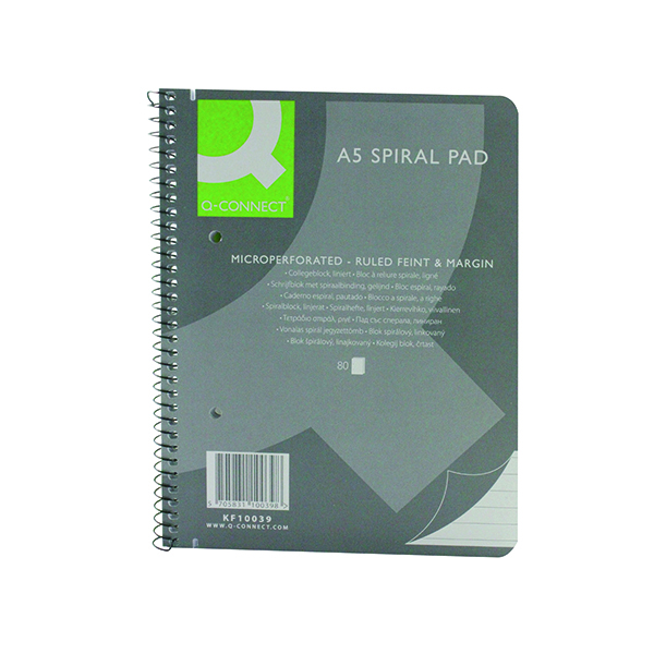 Q-Connect Ruled Margin Spiral Soft Cover Notebook 160 Pages A5 (5 Pack) KF10039
