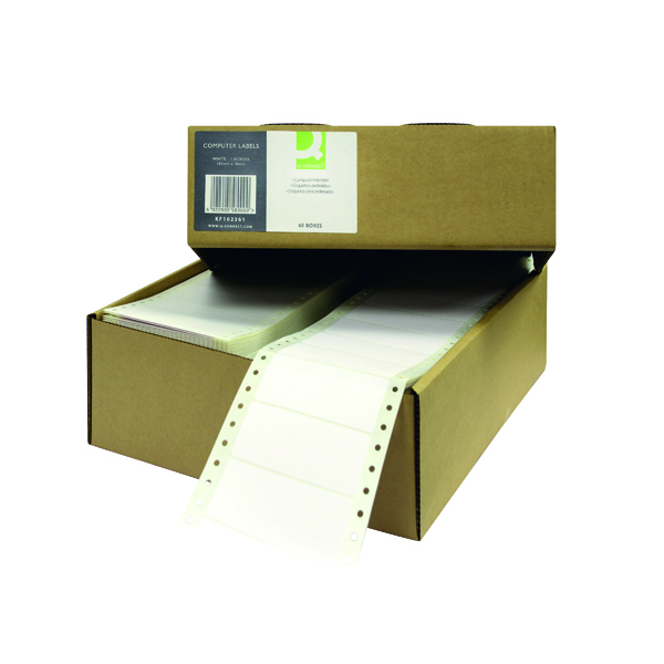 Continuous Labels Q-Connect Computer Label 102x36mm 1 Across The Web 8 Per Fanfold White (8000 Pack) KF102361
