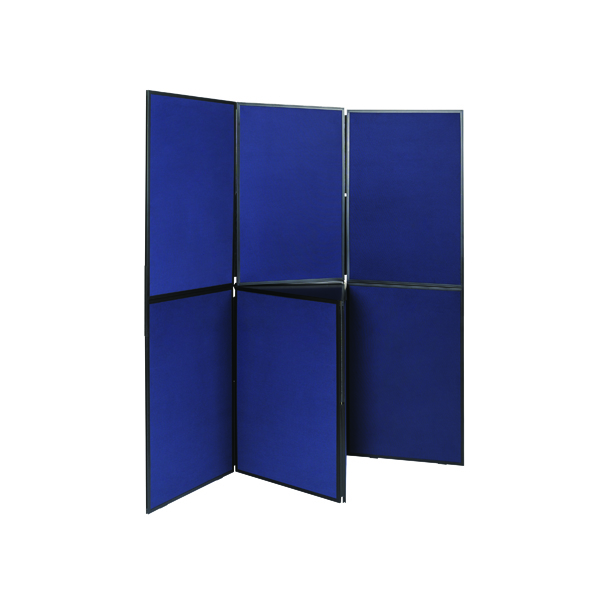 Glazed Q-Connect Display Board 7 Panel Blue/Grey DSP330517