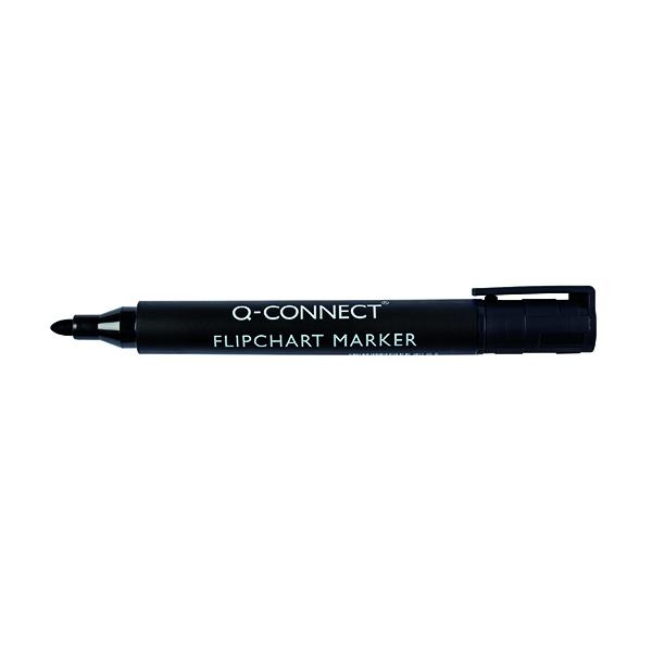 Q-Connect Flipchart Marker Pen Bullet Tip Black (10 Pack) KF15392