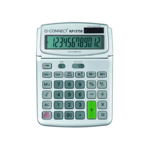 Desktop Calculator Q-Connect Large Table Top 12 Digit Calculator Grey KF15758
