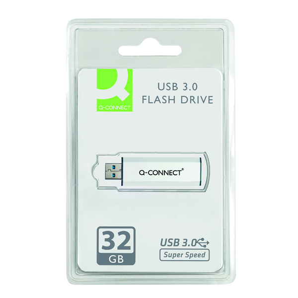 Q-Connect Silver/Black USB 3.0 Slider Flash Drive 32GB 43202005 KF16370