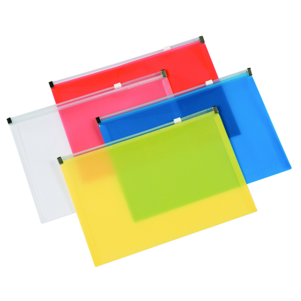 A4 Q-Connect Document Zip Wallet A4 Assorted (20 Pack) KF16552