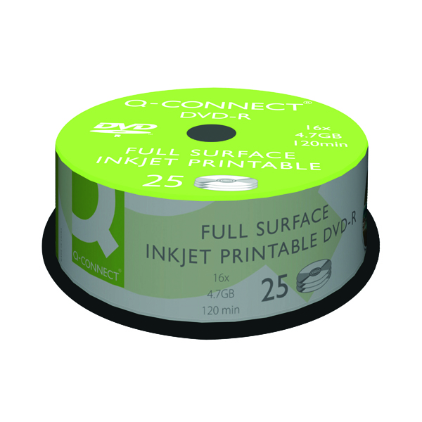 DVD Q-Connect Inkjet Printable DVD-R Discs 16x 4.7GB (25 Pack) KF18021