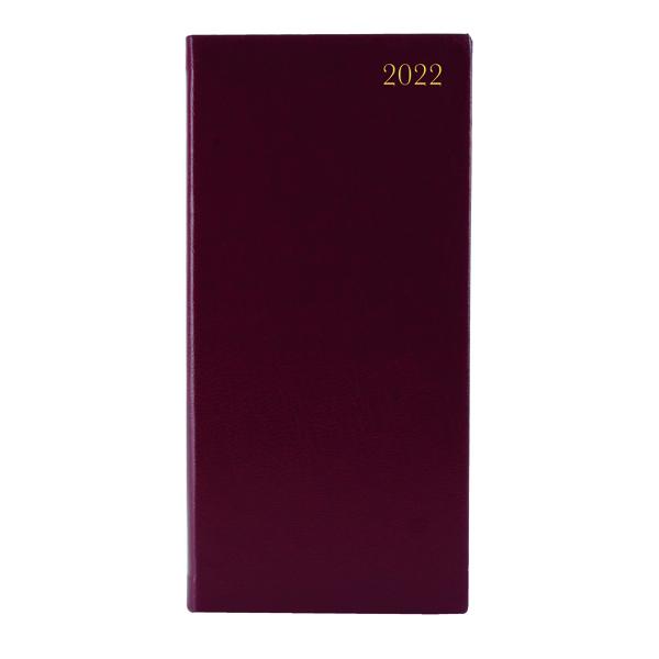 Week to View Slim Desk Diary Portrait Week To View Burgundy 2022 KF1BG22