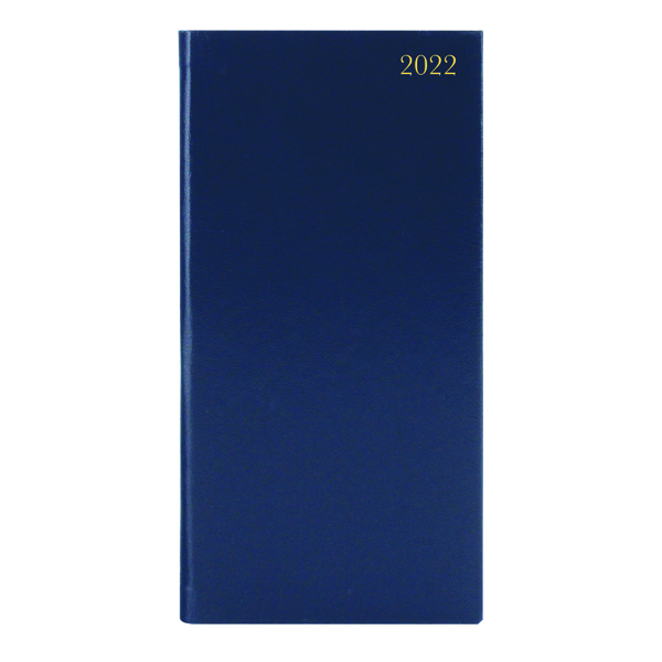 Week to View Slim Desk Diary Portrait Week To View Blue 2022 KF1BU22