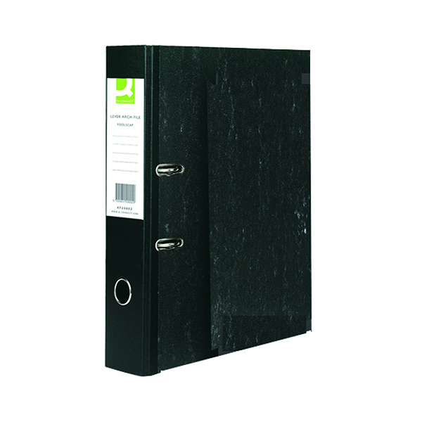 Foolscap (Legal) Size Q-Connect Lever Arch File Foolscap Black (10 Pack) KF20002