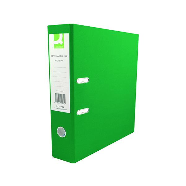 A4 Size Q-Connect 70mm Lever Arch File Polypropylene A4 Green (10 Pack) KF20022