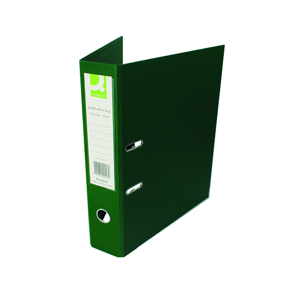 Foolscap (Legal) Size Q-Connect 70mm Lever Arch File Polypropylene Foolscap Green (10 Pack) KF20028