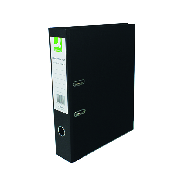Q-Connect Lever Arch File Paperbacked Foolscap Black (10 Pack) KF20029