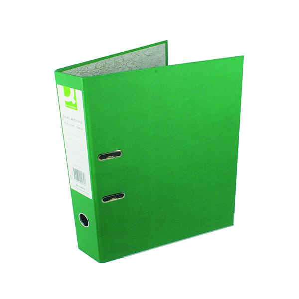 Foolscap (Legal) Size Q-Connect Lever Arch File Paperbacked Foolscap Green (10 Pack) KF20032