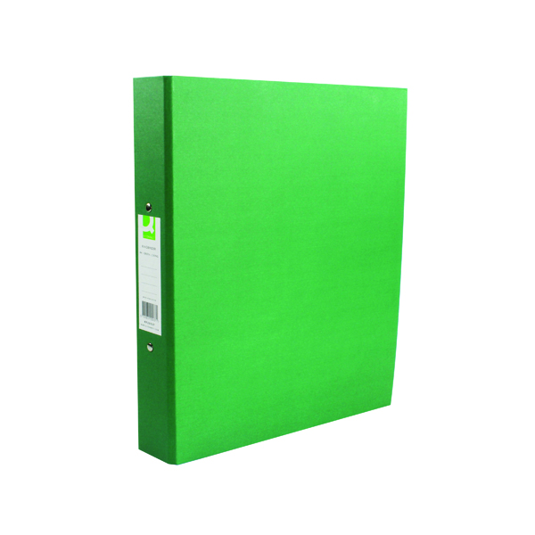 A4 Size Q-Connect 2 Ring 25mm Paper Over Board Green A4 Binder (10 Pack) KF20037