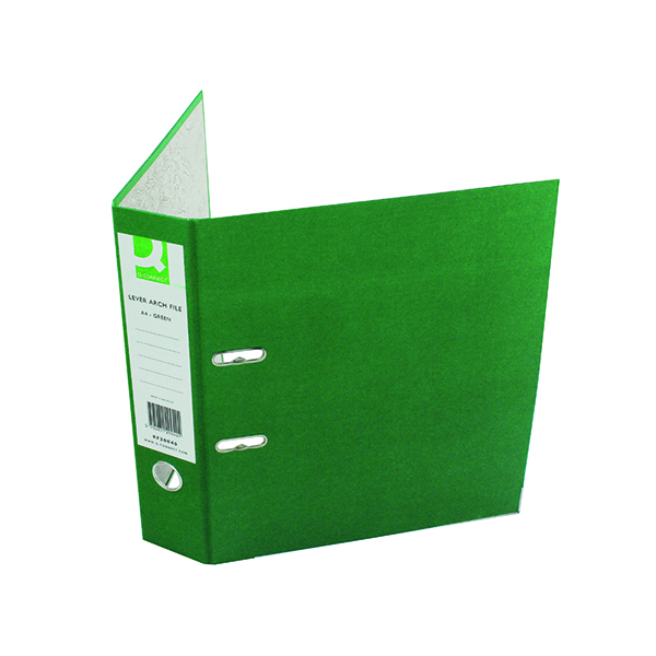 A4 Size Q-Connect Lever Arch File Paperbacked A4 Green (10 Pack) KF20040