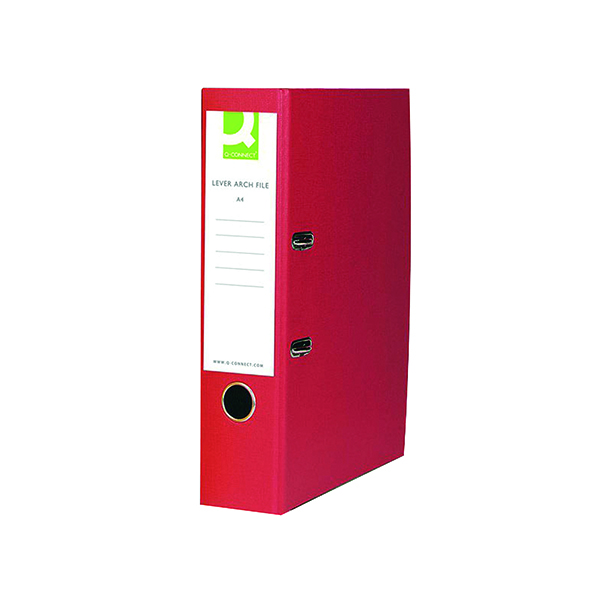 A4 Size Q-Connect Lever Arch File Paperbacked A4 Red (10 Pack) KF20041