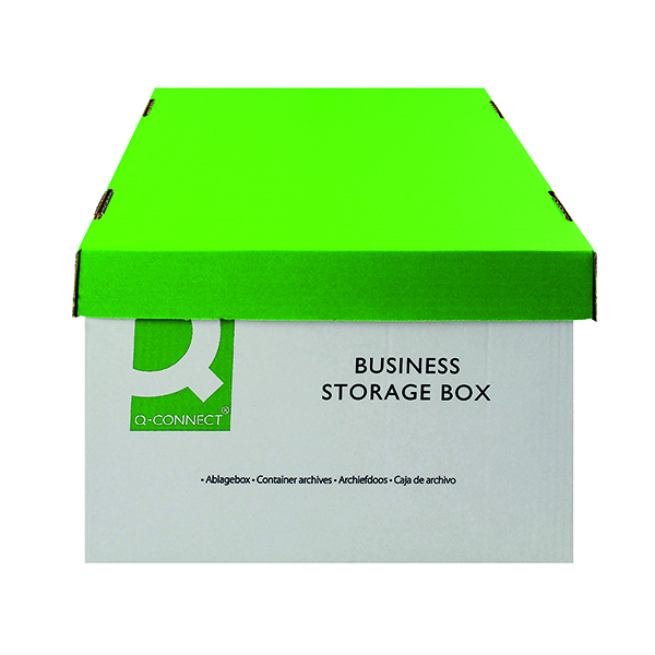 Q-Connect Business Storage Box 335x400x250mm Green and White (10 Pack) KF21660