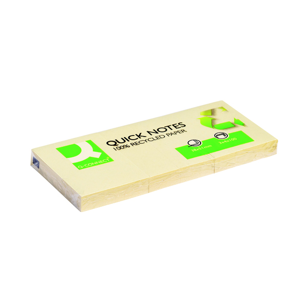 Q-Connect Recycled Quick Notes 38 x 51mm Yellow (12 Pack) KF22367