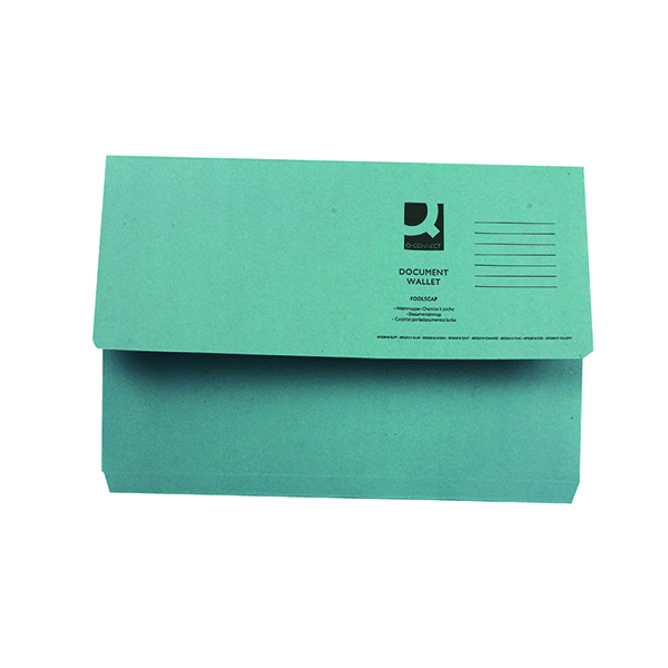 Foolscap Q-Connect Document Wallet Foolscap Blue (50 Pack) KF23011