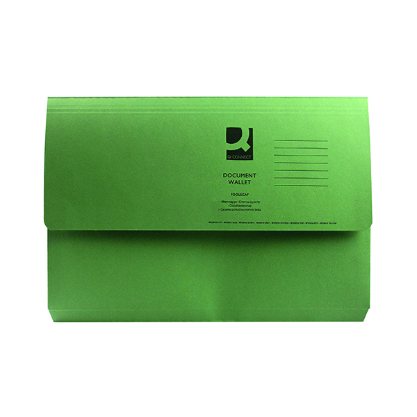 Foolscap Q-Connect Document Wallet Foolscap Green (50 Pack) KF23012