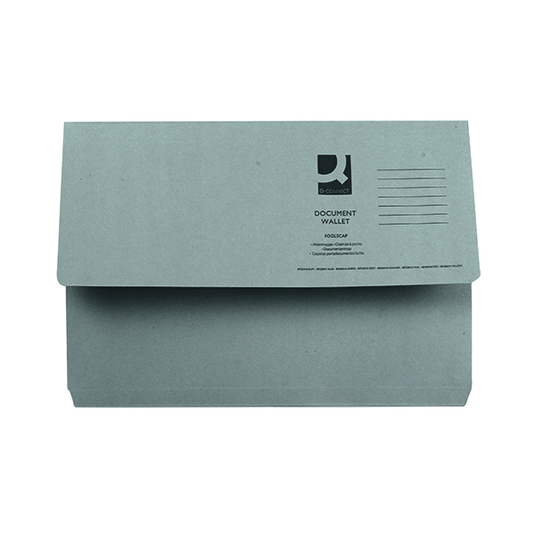 Foolscap Q-Connect Document Wallet Foolscap Grey (50 Pack) KF23013