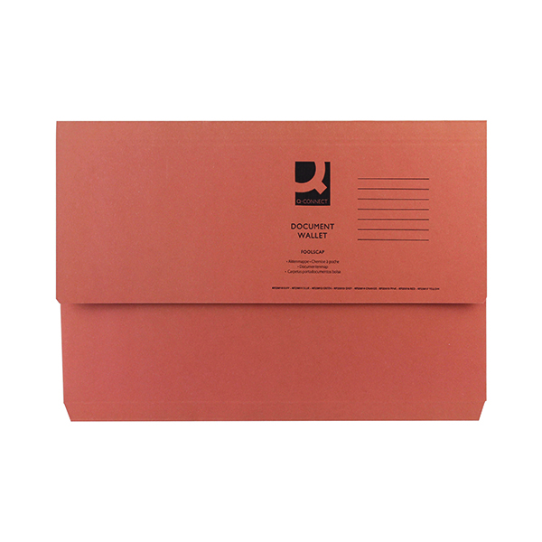 Foolscap Q-Connect Document Wallet Foolscap Orange (50 Pack) KF23014