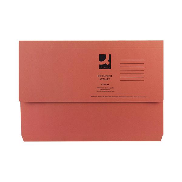 Q-Connect Document Wallet Foolscap Orange (50 Pack) KF23014