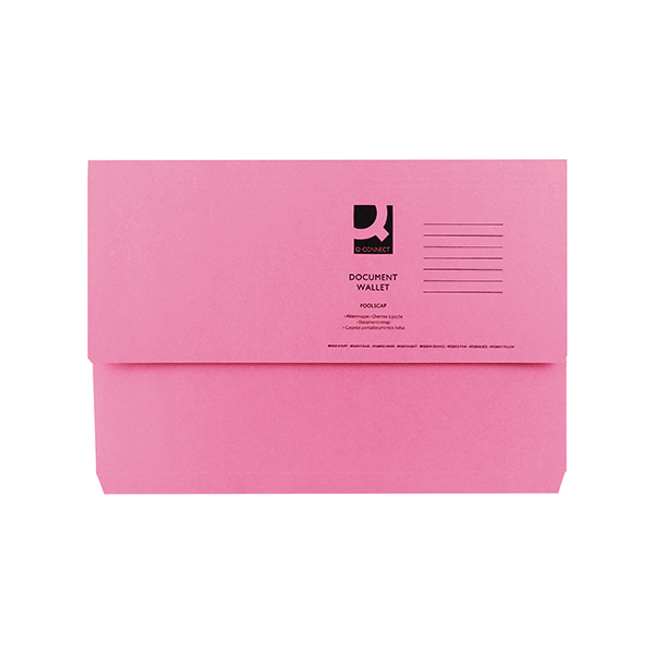 Foolscap Q-Connect Document Wallet Foolscap Pink (50 Pack) KF23015