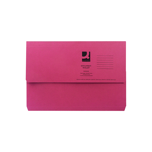 Q-Connect Document Wallet Foolscap Red (50 Pack) KF23016