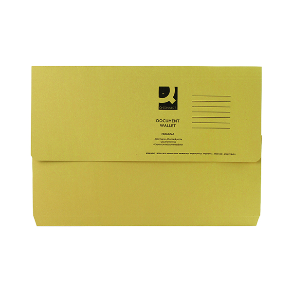 Foolscap Q-Connect Document Wallet Foolscap Yellow (50 Pack) KF23017