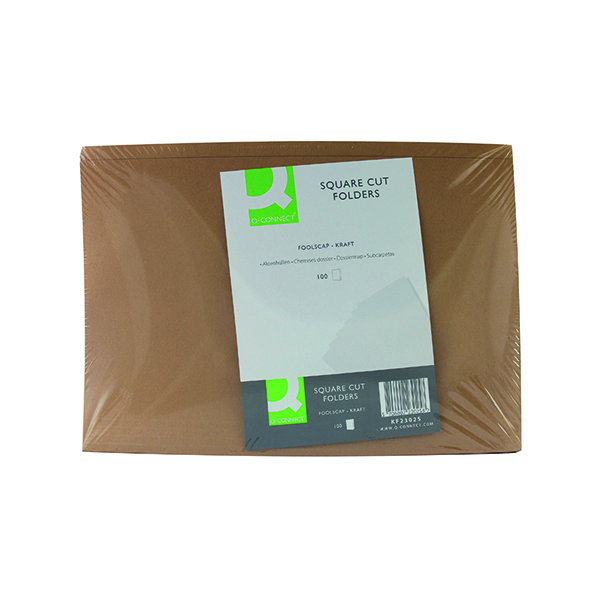 Q-Connect Kraft Square Cut Folder 170gsm Foolscap Buff (100 Pack) KF23025