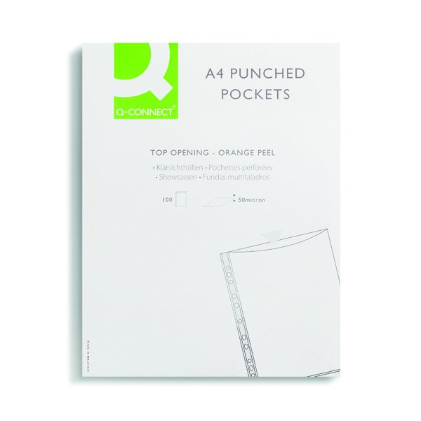 A4 Q-Connect Punched Pockets Polypropylene 50 Micron A4 Clear (100 Pack) KF24001