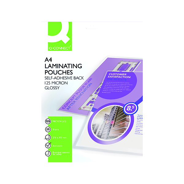 A4 Q-Connect A4 Sticky-Backed Laminating Pouches 250 Micron (25 Pack) KF24056