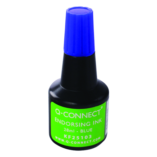 Blue Q-Connect Endorsing Ink 28ml Blue (10 Pack) KF25103Q