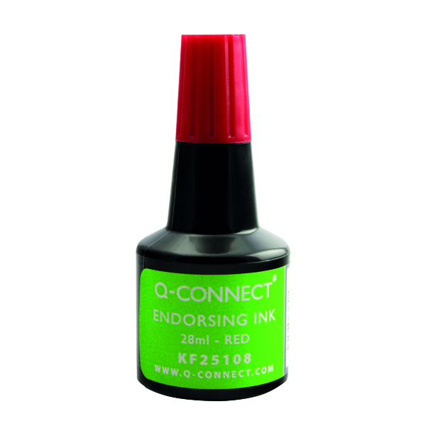 Red Q-Connect Endorsing Ink 28ml Red (10 Pack) KF25108Q