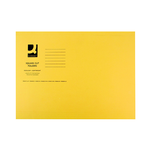 Q-Connect Square Cut Folder Lightweight 180gsm Foolscap Yellow (100 Pack) KF26027