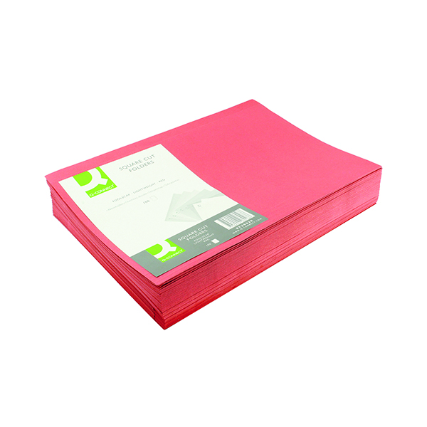 Q-Connect Square Cut Folder Lightweight 180gsm Foolscap Red (100 Pack) KF26028