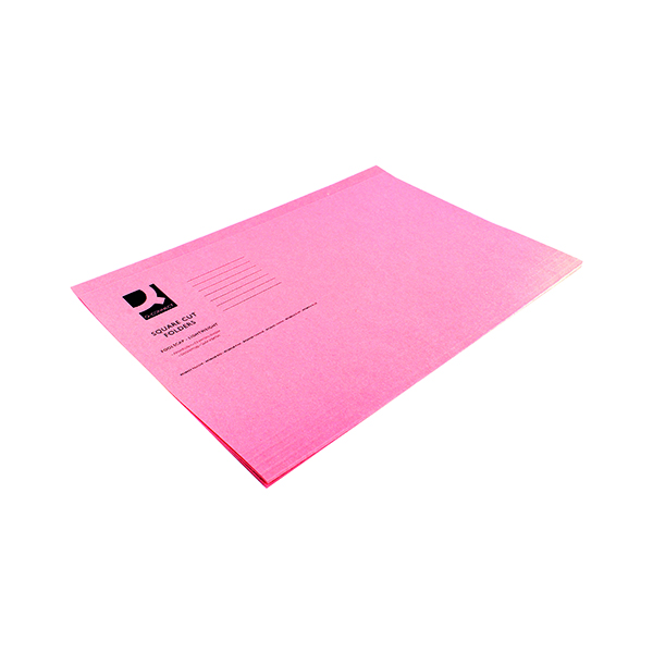 Q-Connect Square Cut Folder Lightweight 180gsm Foolscap Pink (100 Pack) KF26029