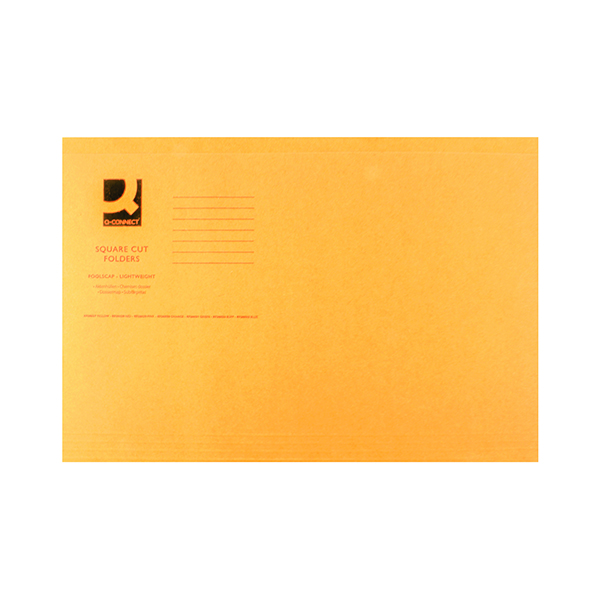 Q-Connect Square Cut Folder Lightweight 180gsm Foolscap Orange (100 Pack) KF26030
