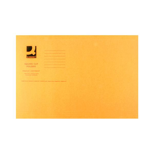 Q-Connect Square Cut Folder Lightweight 180gsm Foolscap Orange (100 Pack) KF26030