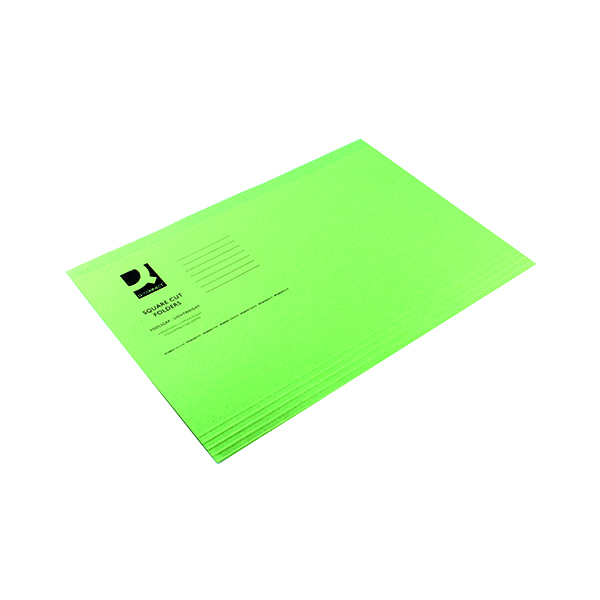 Q-Connect Square Cut Folder Lightweight 180gsm Foolscap Green (100 Pack) KF26031