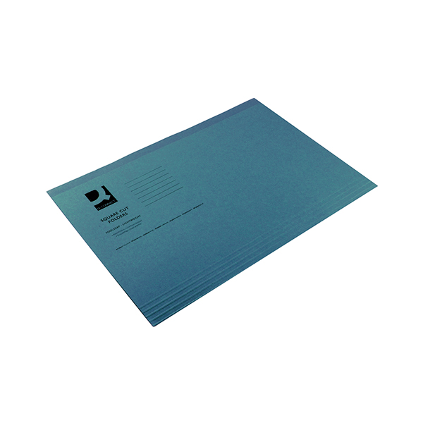 Q-Connect Square Cut Folder Lightweight 180gsm Foolscap Blue (100 Pack) KF26033