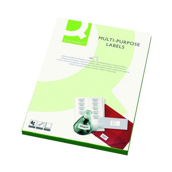 White A4 Sheet Q-Connect Multipurpose Labels 63.5x46.5mm 18 Per Sheet White (1800 Pack) KF26052