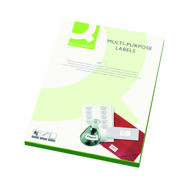 White A4 Sheet Q-Connect Multipurpose Labels 99.1x34mm 16 Per Sheet White (1600 Pack) KF26053