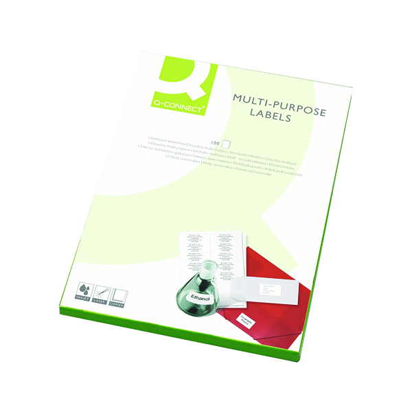 White A4 Sheet Q-Connect Multipurpose Labels 99.1x67.7mm 8 Per Sheet White (800 Pack) KF26055