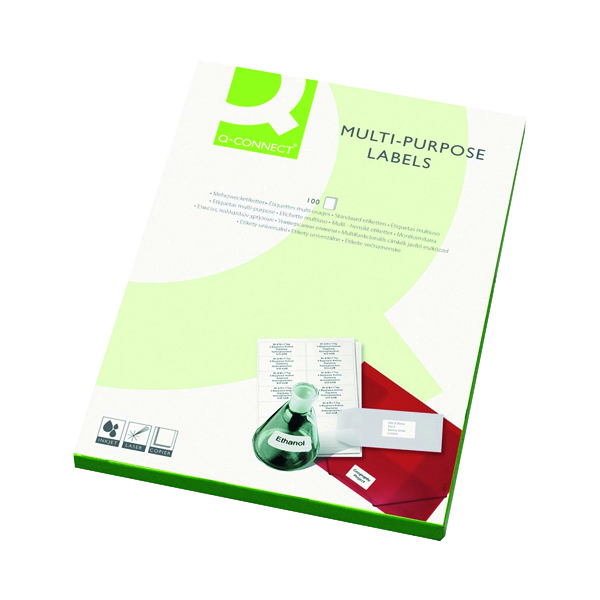 White A4 Sheet Q-Connect Multipurpose Labels 199.6x143.5mm 2 Per Sheet White (200 Pack) KF26056