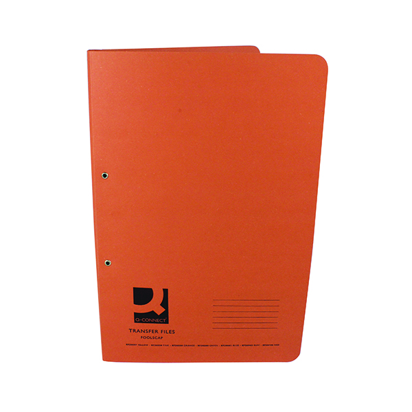 Files Q-Connect Transfer File 35mm Capacity Foolscap Orange (25 Pack) KF26059